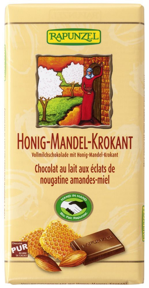Rapunzel Vollmilch Schokolade Honig-Mandel-Krokant HIH 12x100g