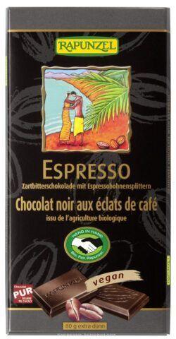 Rapunzel Zartbitter Schokolade mit Espresso-Splittern 51% HIH 12x80g