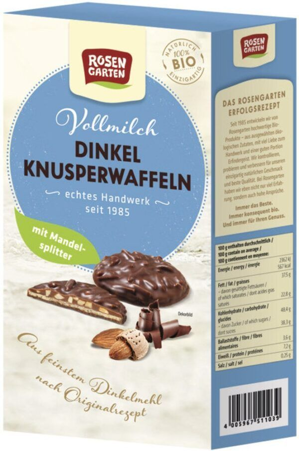 Rosengarten Dinkel-Knusperwaffeln Vollmilch-Mandel 6x100g