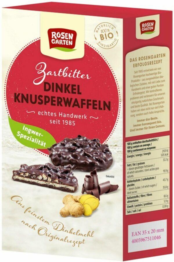 Rosengarten Dinkel-Knusperwaffeln Zartbitter-Ingwer 6x120g