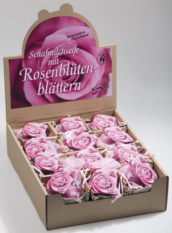Saling Schafmilchseife Herz Rose pink mit Rosenblütenblättern im Organzasäckchen mit Anhänger 24x65g