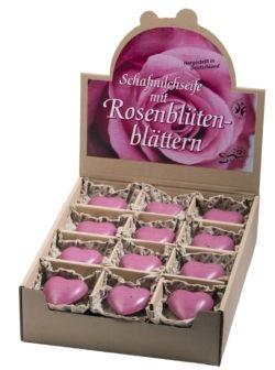 Saling Schafmilchseife Herz Rose pink mit Rosenblütenblättern im Verkaufsdisplay mit Papiertütchen 24x65g
