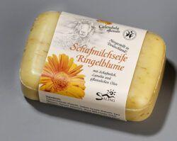 Saling Schafmilchseife Ringelblume 100g mit Banderole, BDIH zertifiziert, im Verkaufsdisplay 12x100g