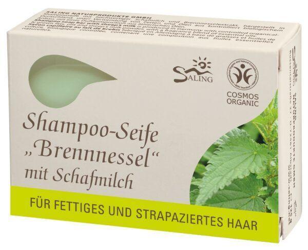Saling Shampoo-Seife Brennnessel mit Schafmilch für fettiges und strapaziertes Haar 125g