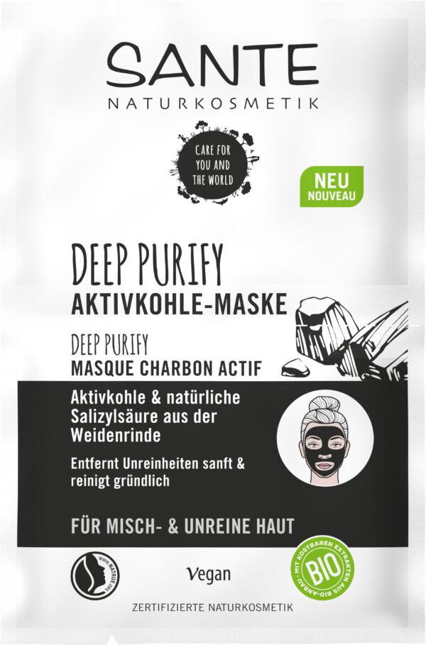 Sante Deep Purify Maske Aktivkohle & natürliche Salizylsäure aus der Weidenrinde 10x8ml