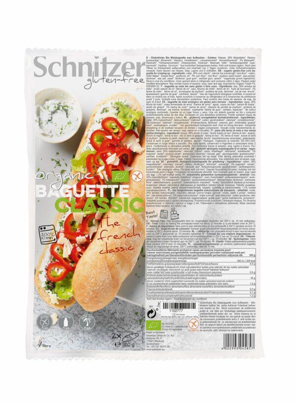 Schnitzer GLUTENFREE BIO BAGUETTE CLASSIC 360g