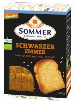 Sommer & Co. Demeter Schwarzer Emmer Zwieback, ungesüßt 6x200g