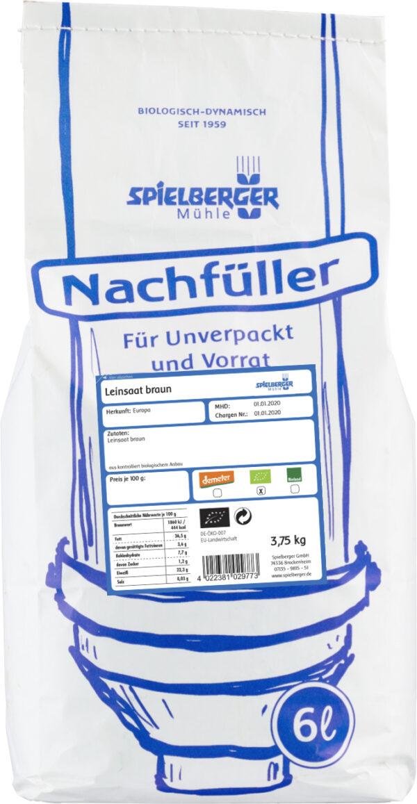 Spielberger Mühle Leinsaat braun, kbA - Nachfüller für Unverpackt und Vorrat 3,75kg