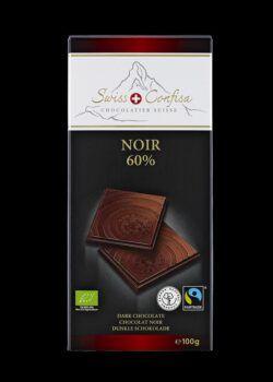 Swiss Confisa Dunkel 60% Bio/Fairtrade 100g Flachtafel 15x100g