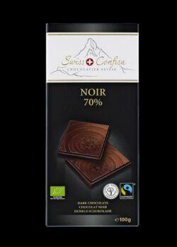 Swiss Confisa Dunkel 70% Bio/Fairtrade 100g Flachtafel 15x100g