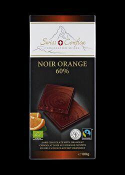 Swiss Confisa Dunkel mit Orange 60% Bio/Fairtrade 100g Flachtafel 15x100g