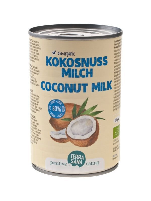 TerraSana Kokosmilch (22% Fett - 80% Kokos - Guargomfrei) 6x400ml