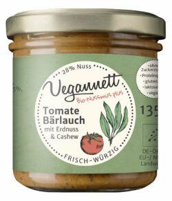 Vegannett Nussmus Tomate Bärlauch mit Erdnuss & Cashew, vegan, bio, ohne Zuckerzusatz 6x135g