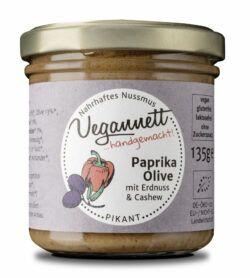 Vegannett Paprika-Oliven Bioaufstrich mit 18% Erdnuss- und Cashewnussmus 6x135g