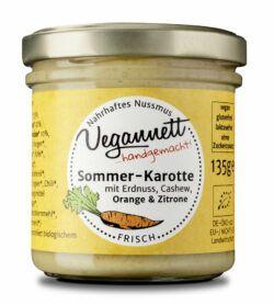 Vegannett Sommerkarotte Bioaufstrich mit Erdnuss, Cashew Orange & Zitrone 6x135g