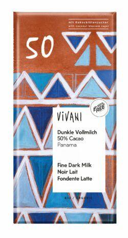 Vivani Dunkle Vollmilch 50% Cacao Panama mit Kokosblütenzucker 10x80g