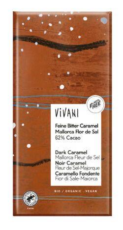 Vivani Feine Bitter Caramel Mallorca Flor de Sal 62% Cacao 10x80g