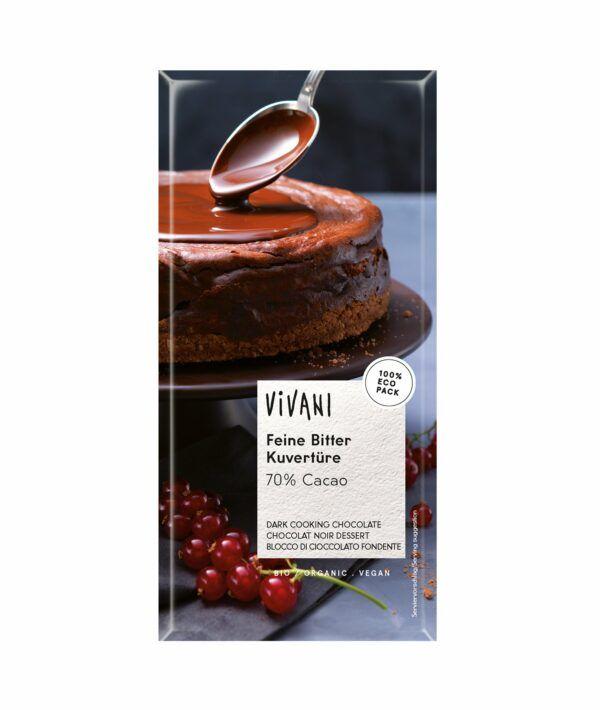 Vivani Feine Bitter Kuvertüre 70% Cacao (200 g-Tafelformat) 200g