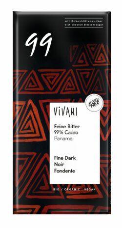 Vivani Feine Bitter Schokolade 99 % Cacao Panama 10x80g