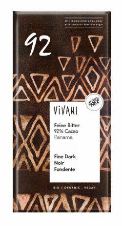 Vivani Feine Bitter Schokolade 92 % Cacao Panama mit Kokosblütenzucker 80g