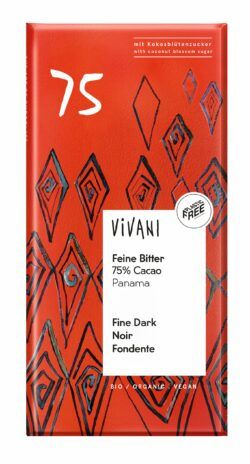 Vivani Feine Bitter Schokolade 75% Cacao Panama mit Kokosblütenzucker 10x80g