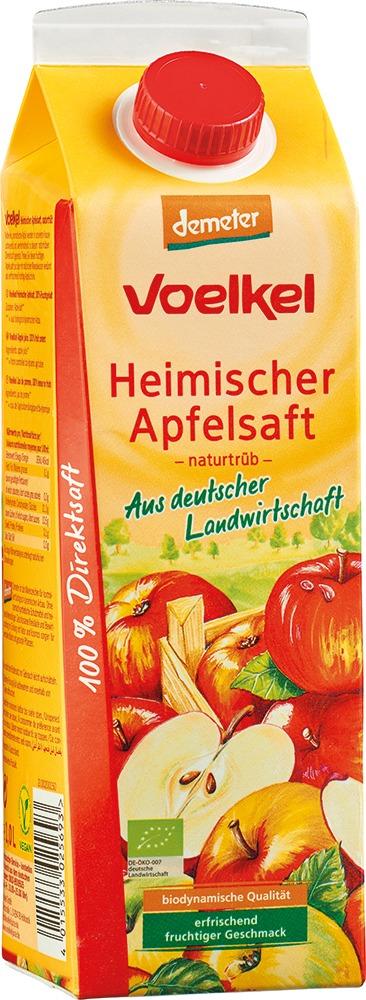 Voelkel Heimischer Apfelsaft, naturtrüb, 100% Direktsaft 6x1l