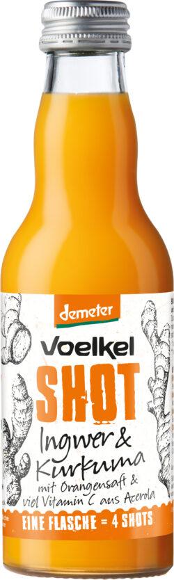 Voelkel Shot Ingwer & Kurkuma mit Orangensaft & viel Vitamin C aus Acerola 12x0,2l
