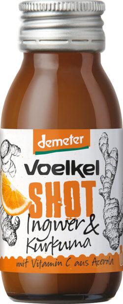 Voelkel Shot Ingwer & Kurkuma mit Vitamin C aus Acerola 12x60ml