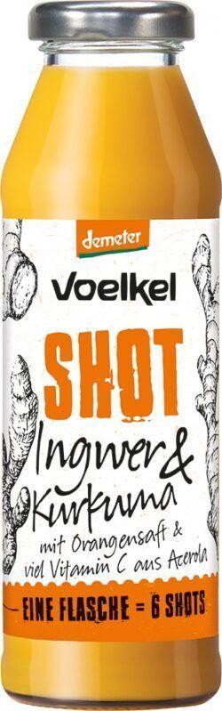 Voelkel Shot Ingwer & Kurkuma mit Orangensaft & viel Vitamin C aus Acerola 6x0,28l