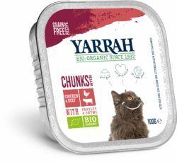 Yarrah Organic Petfood B.V. Bio Bröckchen Huhn und Rind mit Petersilie und Thymian 16x100g