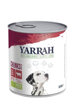 Yarrah Organic Petfood B.V. Bio Hund Bröckchen Rind in Soße mit Brennnessel&Tomate 6x820g