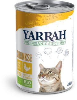 Yarrah Organic Petfood B.V. Bio Katzen Bröckchen Huhn mit Brennnessel&Tomate 12x405g