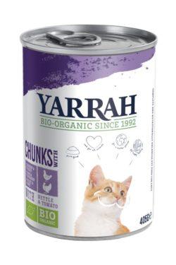 Yarrah Organic Petfood B.V. Bio Katzen Bröckchen Huhn und Truthahn mit Brennnessel & Tomate 12x405g