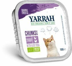 Yarrah Organic Petfood B.V. Bio Katze Schale Bröckchen getreidefrei Huhn & Truthahn 16x100g