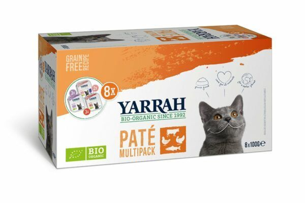 Yarrah Organic Petfood B.V. Multipack Pate für Katzen Grain Free verschiedene Sorten 8x800g