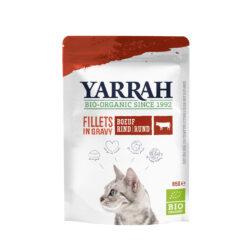 Yarrah Organic Petfood B.V. Katzen Bio Pouch Filets mit Rind in Soße 14x85g