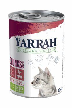 Yarrah Organic Petfood B.V. Bio Katze Bröckchen Huhn & Rind mit Brennnessel&Tomate 12x405g