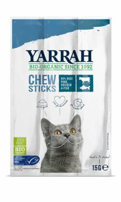 Yarrah Organic Petfood B.V. Bio Katze Snack getreidefrei Kaustangen mit Fisch (MSC) 25x15g