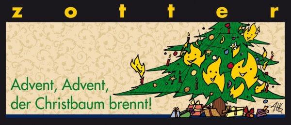 Zotter Schokolade Advent, Advent, der Christbaum brennt – Gebrannte Mandeln 10x70g