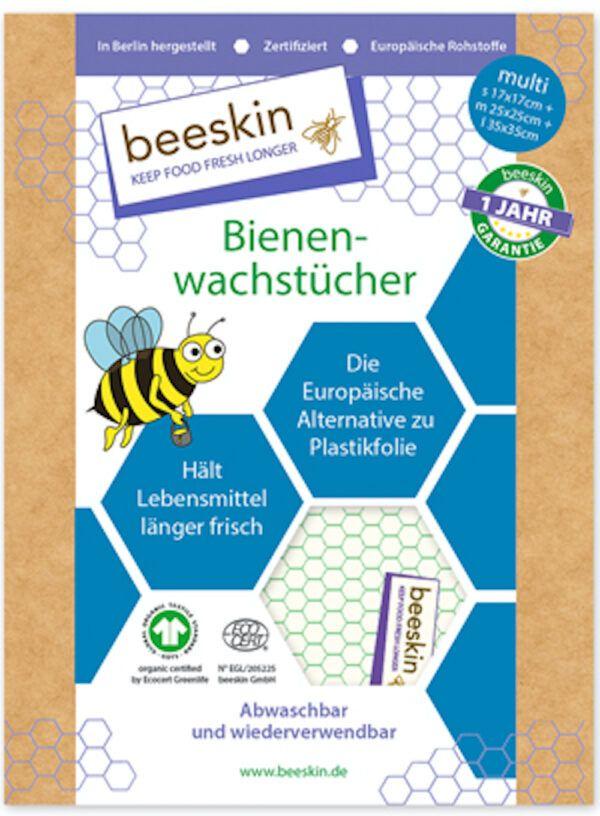 beeskin GmbH beeskin Bienenwachstuch Multi (1x s17x17cm, 1x m25x25cm, 1xL35x35cm)) 3Stück