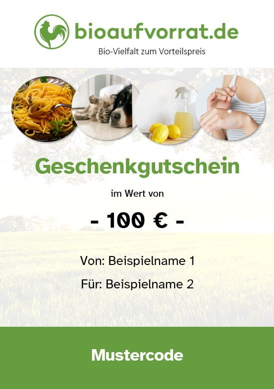 bioaufvorrat 100 Euro Geschenkgutschein