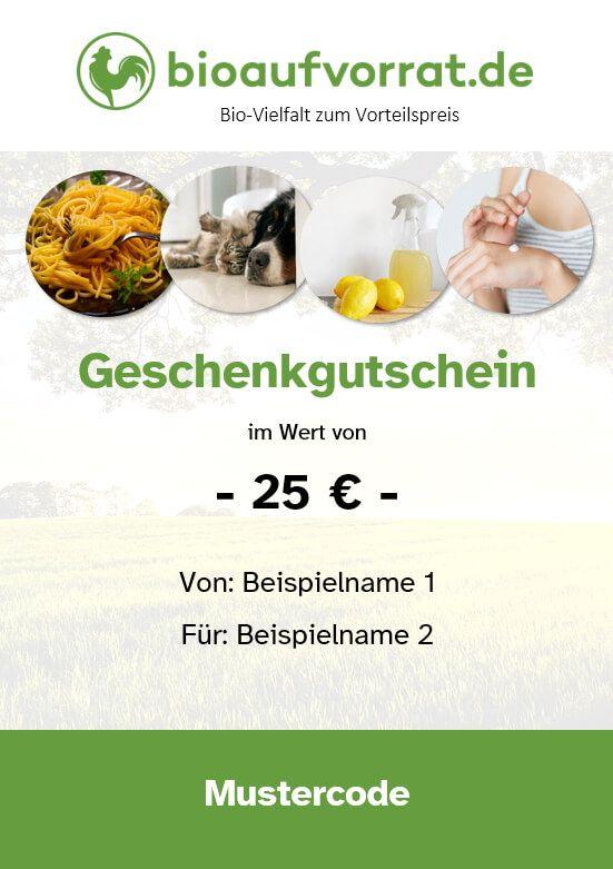 bioaufvorrat 25 Euro Geschenkgutschein