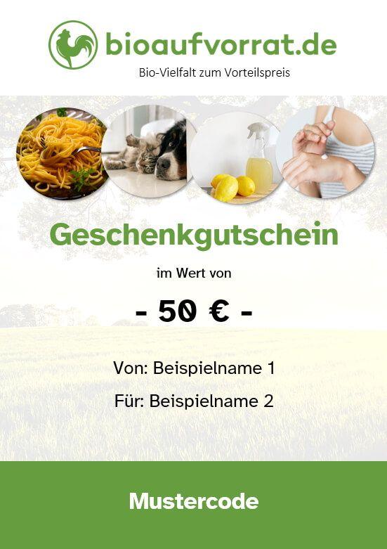 bioaufvorrat 50 Euro Geschenkgutschein