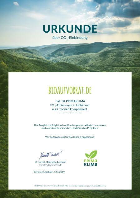 bioaufvorrat.de Nachhaltigkeit Zertifikat