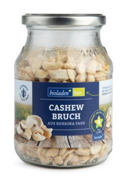 bioladen Cashewkerne, Großbruch, im Pfandglas 6x270g