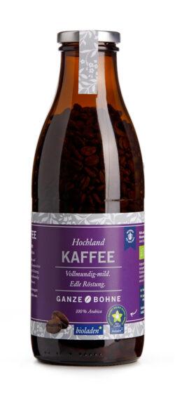 bioladen Hochlandkaffe, ganze Bohne, Pfandflasche 6x320g