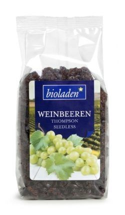 bioladen Weinbeeren, Sorte: Thompson Seedless 10 x 250g