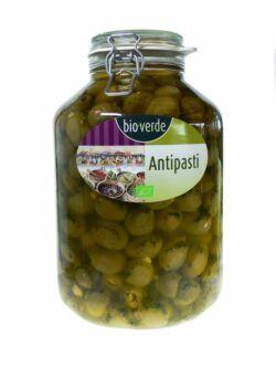 bio-verde Grüne Oliven mit Knoblauch mit frischen Kräutern in Öl 4,75kg