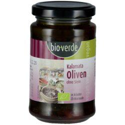 bio-verde Schwarze Kalamata-Oliven ohne Stein 200 g mit frischen Kräutern in Öl-Marinade 6x200g