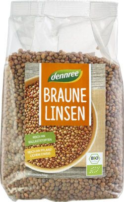 dennree Braune Linsen 6x500g
